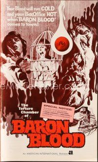 5b331 BARON BLOOD pressbook '72 Mario Bava, the ultimate in human agony, torture beyond belief!