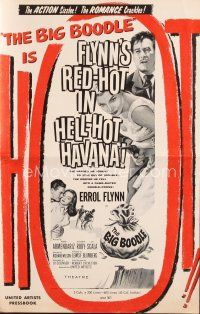 5b336 BIG BOODLE pressbook '57 Errol Flynn red-hot in Havana Cuba with sexy Rossana Rory!