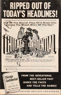 5b341 CHICAGO CONFIDENTIAL pressbook '57 puts the blast on the mob that invaded the Windy City!