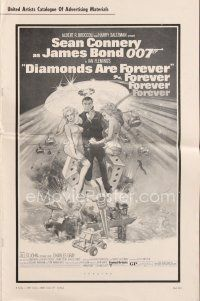 5b345 DIAMONDS ARE FOREVER pressbook '71 art of Sean Connery as James Bond by Robert McGinnis!