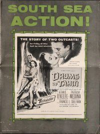 5b351 DRUMS OF TAHITI pressbook '53 Dennis O'Keefe & Patricia Medina, a story of two outcasts!