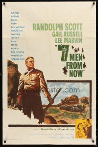 6t002 7 MEN FROM NOW 1sh '56 Budd Boetticher, great full-length art of Randolph Scott with rifle!