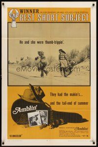 6t004 AMBLIN' 1sh R71 Steven Spielberg's very first movie about male & female thumb-trippers!
