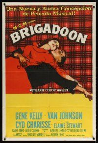 6t143 BRIGADOON Argentinean '55 great romantic close up art of Gene Kelly & Cyd Charisse!