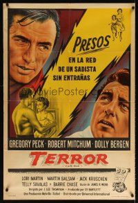6t144 CAPE FEAR Argentinean '62 great close-up art of Gregory Peck, Robert Mitchum, classic!