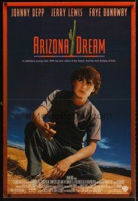 6t198 ARIZONA DREAM 1sh '93 Faye Dunaway, cool image of Johnny Depp!