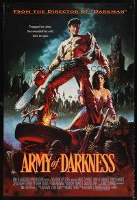 6t199 ARMY OF DARKNESS 1sh '93 Sam Raimi, great artwork of Bruce Campbell with chainsaw hand!