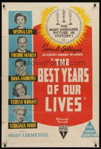 6t118 BEST YEARS OF OUR LIVES Aust 1sh R54 William Wyler, Myrna Loy, Mayo, different!