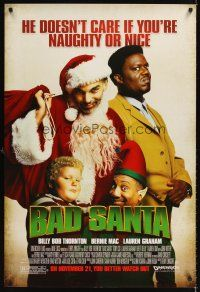 6t201 BAD SANTA advance DS 1sh '03 Billy Bob Thornton, Bernie Mac, Christmas crime comedy!
