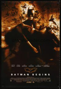 6t202 BATMAN BEGINS advance DS 1sh '05 Bale as the Caped Crusader carrying Katie Holmes!