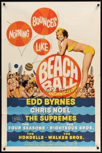 6t009 BEACH BALL 1sh '65 Edd Byrnes, Chris Noel, The Supremes, full-length sexy girl in bikini!