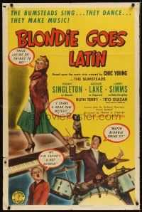 6t013 BLONDIE GOES LATIN 1sh '41 Penny Singleton, Arthur Lake as Dagwood playing drums!