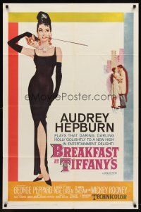6t001 BREAKFAST AT TIFFANY'S 1sh '61 most classic artwork of sexy elegant Audrey Hepburn!