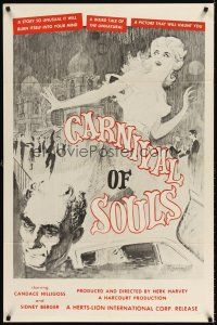 6t017 CARNIVAL OF SOULS 1sh '62 Candice Hilligoss, Sidney Berger, F. Germain horror art!