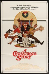 6t018 CHRISTMAS STORY 1sh '83 best classic Christmas movie, great art by Robert Tanenbaum!