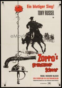 6t275 BEHIND THE MASK OF ZORRO German '65 cool artwork of masked hero on horseback!