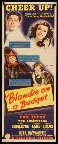 6t175 BLONDIE ON A BUDGET insert '40 sexy young Rita Hayworth, Arthur Lake & Penny Singleton!