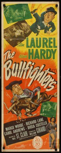 6t177 BULLFIGHTERS insert '45 great wacky artwork & photos of Stan Laurel & Oliver Hardy!