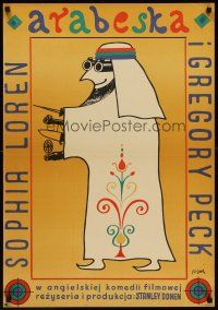 6t336 ARABESQUE Polish 23x33 '66 Gregory Peck, Sophia Loren, Flisak art of well-armed Arab man!