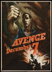 6t109 AVENGE DECEMBER 7 29x40 WWII war poster '42 attack on Pearl Harbor art by Bernard Perlin!