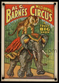 8a713 AL G BARNES WILD ANIMAL CIRCUS REPRO circus poster '60 big cat riding elephant!