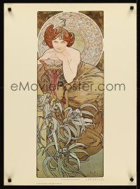 8a578 ALPHONSE MUCHA commercial 21x29 '75 great art of seated woman, Four Jewels, Emerald!