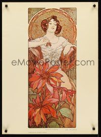8a579 ALPHONSE MUCHA commercial 21x29 '75 great art of seated woman, Four Jewels, Ruby!