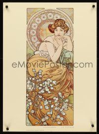 8a580 ALPHONSE MUCHA commercial 21x29 '75 great art of seated woman, Four Jewels, Topaz!