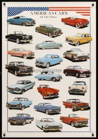 8a582 AMERICAN CARS OF THE FIFTIES Italian commercial poster '98 great artwork of classics!