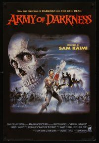 8a584 ARMY OF DARKNESS commercial poster '93 Sam Raimi, art of Bruce Campbell with chainsaw hand!