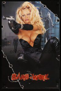 8a090 BARB-WIRE commercial poster '96 sexiest comic book hero Pamela Anderson in title role w/gun!