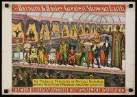 8a714 BARNUM & BAILEY GREATEST SHOW ON EARTH REPRO circus poster '60 freaks on stage!