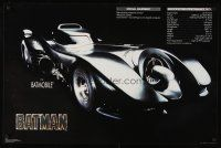 8a586 BATMAN commercial poster '89 directed by Tim Burton, great image of Batmobile & specs!