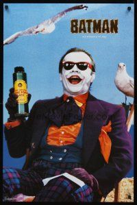 8a585 BATMAN commercial poster '89 close up of Joker Jack Nicholson w/seagulls & toxic bath!
