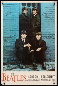 8a588 BEATLES: LONDON PALLADIUM commercial poster '64 cool portrait of John, Paul, George & Ringo!