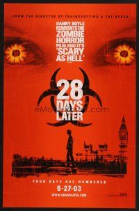 8a446 28 DAYS LATER teaser mini poster '03 Danny Boyle, Cillian Murphy vs. zombies in London!