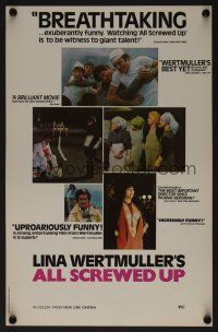 8a452 ALL SCREWED UP 11x17 special poster '76 Lina Wurtmuller, first New Line release!