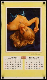 8a071 1952 CALENDAR 6 page calendar '52 really cool vintage sexy pin-up images!