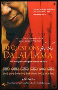 8a363 10 QUESTIONS FOR THE DALAI LAMA arthouse special 24x38 '06 Buddhism, Rick Ray documentary!