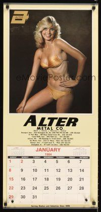 8a073 ALTER METAL COMPANY calendar '84 great sexy image of girl in golden bikini