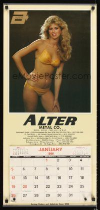 8a074 ALTER METAL COMPANY calendar '86 great sexy image of girl in golden bikini