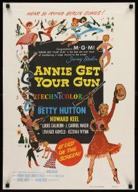 8a457 ANNIE GET YOUR GUN soundtrack special 19x27 '70s Betty Hutton as the greatest sharpshooter!