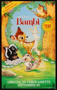 8a369 BAMBI video special 23x37 R89 Walt Disney cartoon deer classic, great art w/Thumper & Flower!
