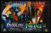 8a092 BATMAN special 22x34 '95 great comic artwork of The Riddler & Two-Face!