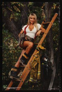 8a589 BEAUTY ON DUTY: FIREWOMAN RESCUE special pin-up 22x34 '93 sexy girl rescues cat!