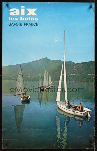8a257 AIX LES BAINS SAVOIE FRANCE French travel poster '60s wonderful image of boats on lake!