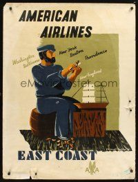 8a258 AMERICAN AIRLINES EAST COAST travel poster '48 wonderful art of sailor & boat!
