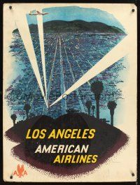 8a259 AMERICAN AIRLINES LOS ANGELES travel poster '60 art of airplane over city & searchlights!