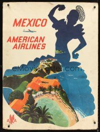 8a260 AMERICAN AIRLINES MEXICO travel poster '52 cool art of Mexican beach resort!