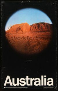 8a263 AUSTRALIA Australian travel poster '80s cool fish-eye image of Ayers Rock at sunset!